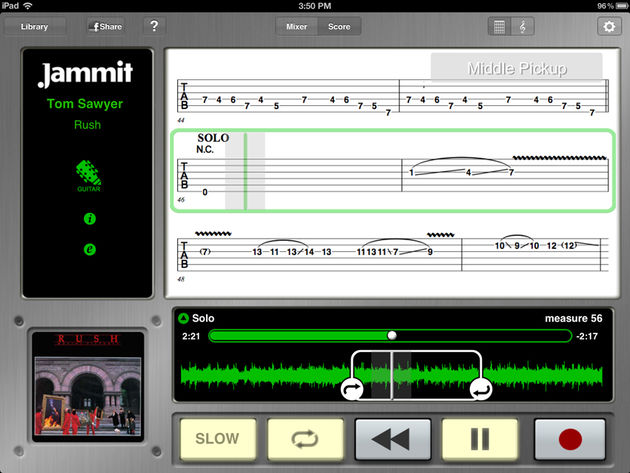 Tab View - Score View displaying tablature for those that don't read standard notation