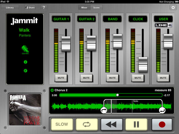 Mixer View - shows volume level of isolated guitar tracks, band tracks, click track and user recordable track