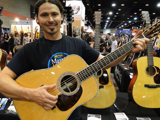 Chris Thomas of Martin Guitar with the new D-45E Retro acoustic