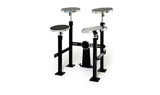 "The Practice Kit consists of four pads (10"" snare and 10"", 11"", 12"" toms) plus a 5"" bass drum pad"