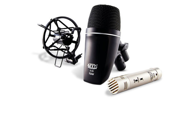 The kit includes an MXL A-55 Kicker dynamic mic and 606 condenser mic, plus a shockmount and flight case