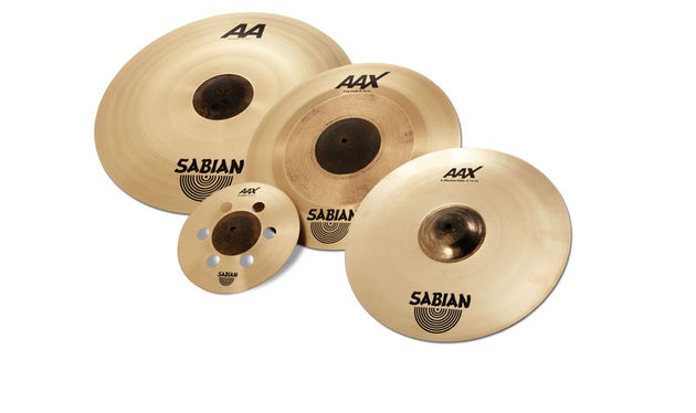 "The winning cymbals: (l-r) AA Bash ride (21""/24""), AAX Air splash, AAX Freq crash and AAX X-Plosion hats"