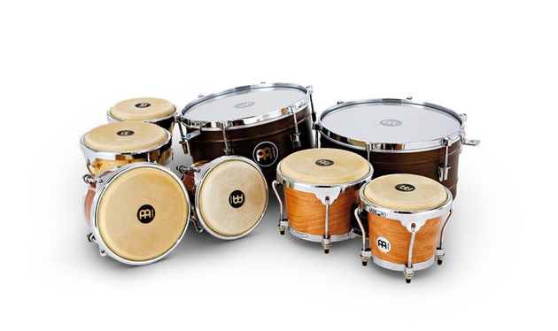 These timbales (rear) are made from 1mm gauge steel with two circumferential flanged beads