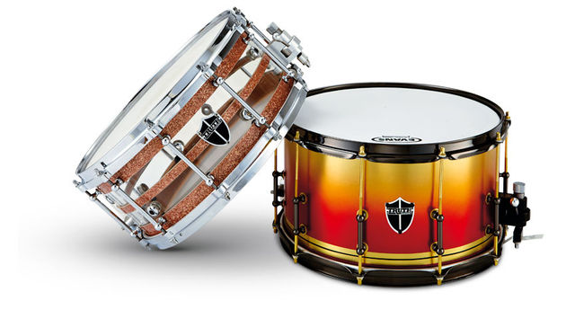 "With its dramatically finished brass-to-red fade shell (right), this 14""x8"" brass drum is a true individual"
