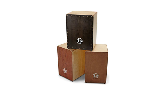 The cajon (bottom left) measures 48cm tall by 30cm by 30cm and is resplendent in a bubinga finish