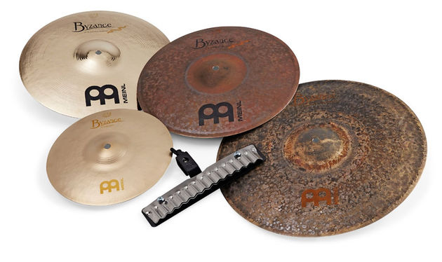 "These Byzance Extra Dry hi-hats (right) measure 16"" in diameter and offer darker tones that your usual 14"" sets"