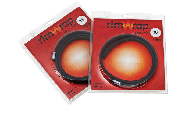 "The rubber wraps fit drum rims from 8"" to 18"""