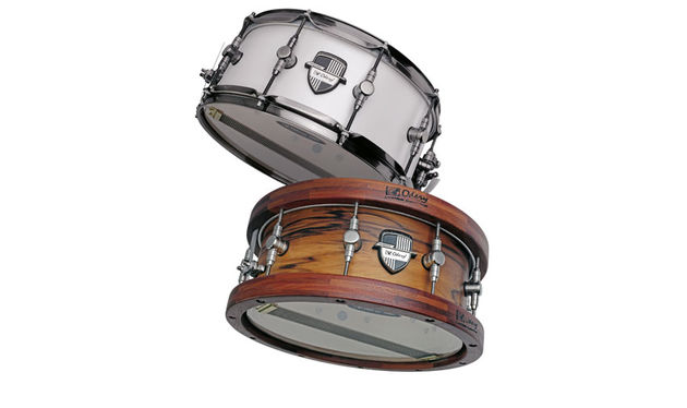 The snare (top) has 2.3mm triple-flanged steel hoops and all metal fittings are finished in antique silver