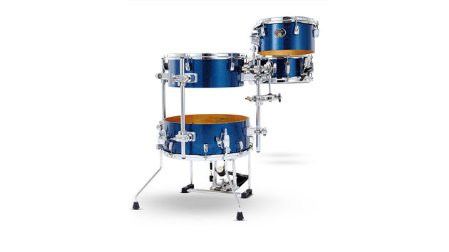 All drums except the snare are single-headed allowing them to nestle inside one another