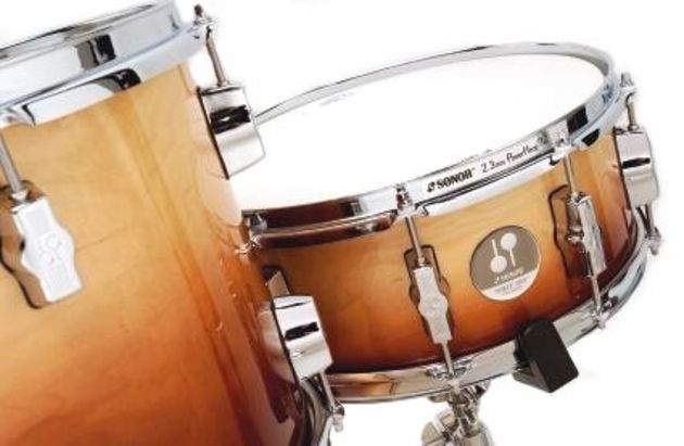 The snare and bass drums are particularly well endowed, with 10 of Sonor's distinctive lugs ensuring unsurpassed tuning control