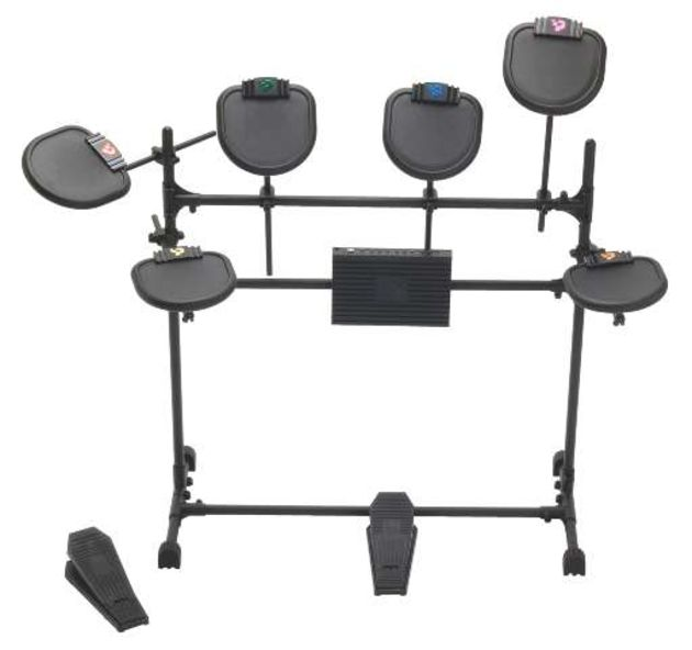 The kit comprises six rubber pads, a rack frame, pedals, a MIDI sound module (not shown) and a USB interface module