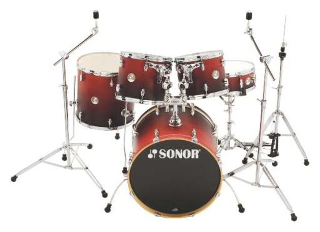The bass drum is enhanced by Sonor's swing-out spurs, which curve round the drum when they are not in use