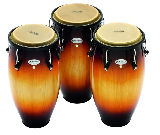 Congas: Thai-made Siam oak drums of stave construction.
