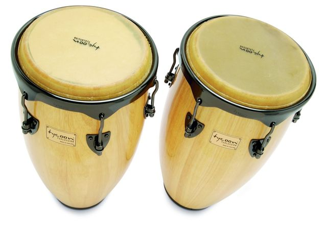The congas are constructed from aged Siam oak wood.