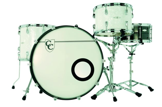 The kit's White Marine Pearl finish is akin to Buddy Rich. C&C's attention to detail is already legendary