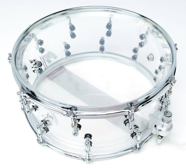 Clear shell snare drums are available in a staggering, one-inch thick acrylic