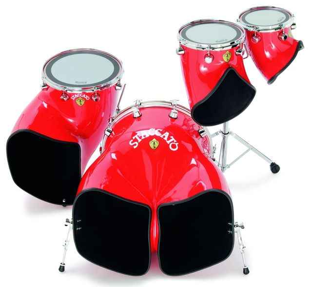 The distorted, horn-shaped drums are a unique feature of the Staccato kit