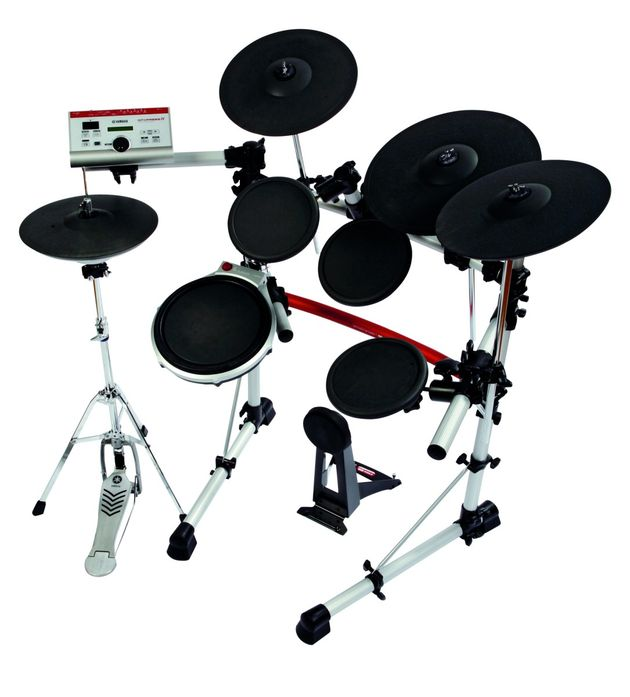 "Featuring a 10"" snare with 13"" and 15"" rubber cymbals."