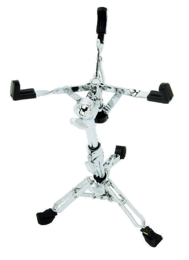 The snare drum stand uses a resin ball as a mount.