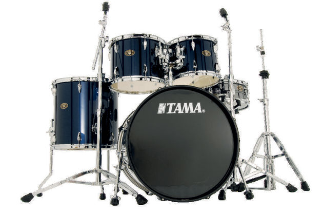 The bass drum heads have perimeter muffling rings.