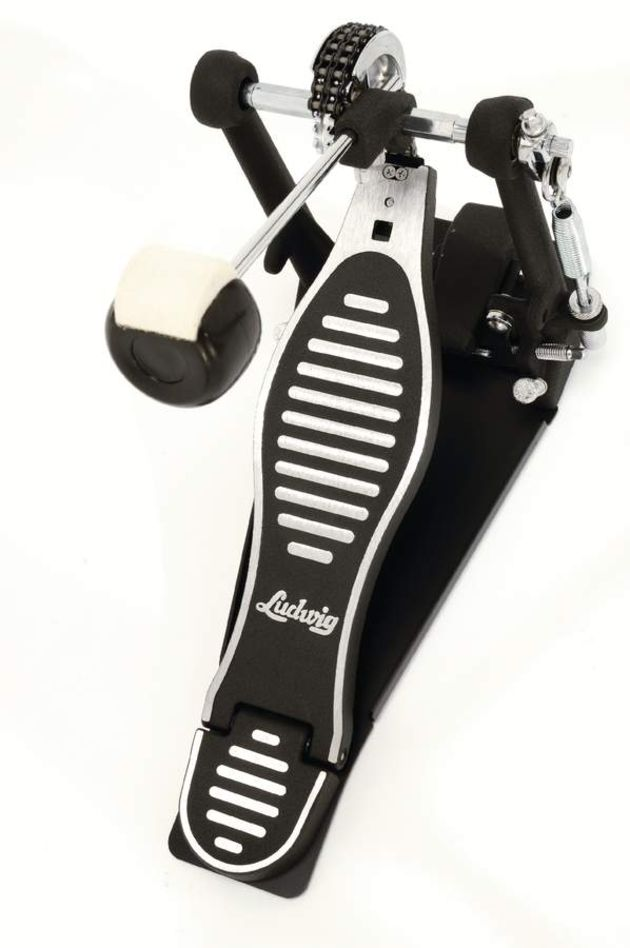 The bass pedal has a heavy stabilising plate and a powerful, direct action