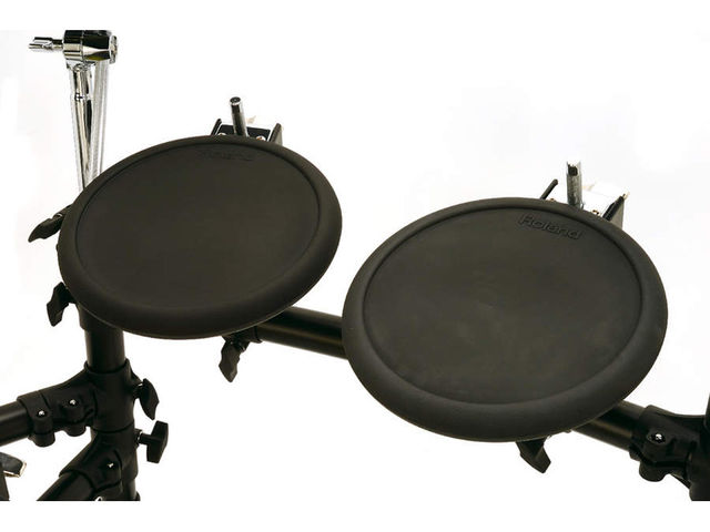 The compact PD-8 tom pads feel nice, and their smallish diameter helps with accuracy, even if you might like them to be bigger
