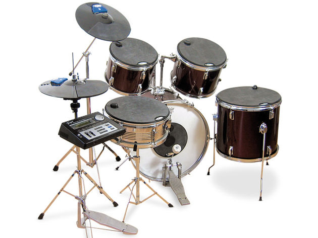 The EPad Kit muffles the acoustic kit and has built-in triggers