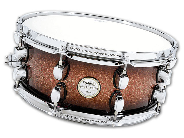 The all-maple shells feature a new bearing edge and the snare drum has 10 lugs for tuning accuracy, all in the new low-mass design