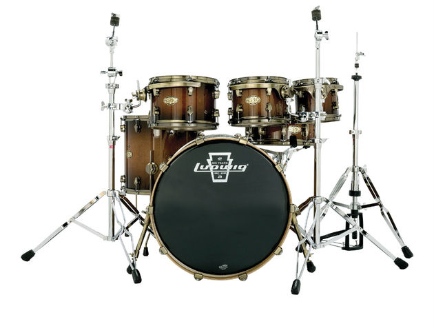 All of the shell hardware on Epic kits is bronze-coated for what Ludwig describes as a 'vintage' look