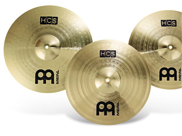 More bangs per buck: Meinl's HCS cymbals are made from inexpensive MS63 brass alloy.
