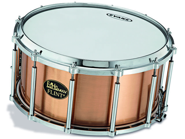 The EcHo-Flint snare features an ingenious free-floating, 'suspended shell' system.