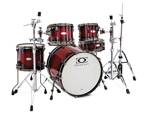 Cardiac Burst finish is one of two high-gloss lacquer options on the Drumcraft Series 8 Maple Kit.