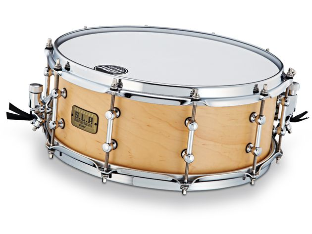 The SLP Classic Maple snare features Tama's triple-flanged 2.3mm steel Sound Arc hoop.