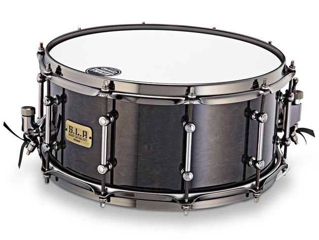 The SLP Power Maple snare has Midnight Burl finish and black nickel metalwork.
