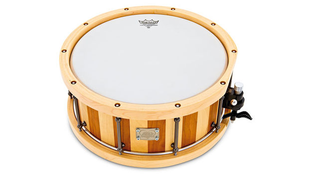 With its maple ply counter hoops and recessed tuning bolts, this cherry/birch snare is quite striking