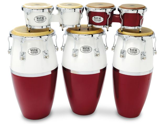 The congas' natural hide heads are responsive, comfy to play and look durable