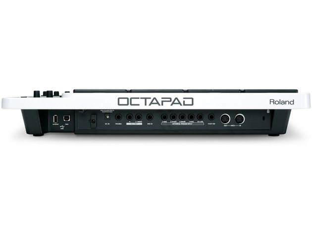 "Octapad has five 0.25"" sockets for use with V-Drum ride, hi-hat, snare and kick pads"