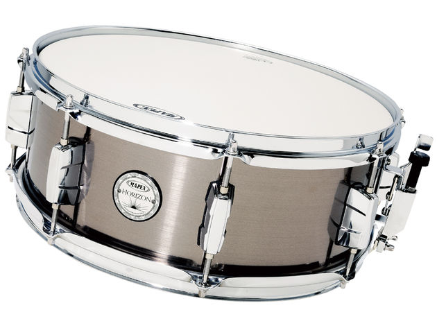 The lightweight snare has eight lugs, which can make the drum a little wild. Half a perimeter 'O' ring or some Moongel will give you a crisp, tight snap