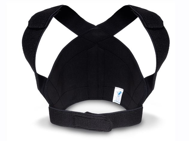 The brace forces you to sit more upright and pulls your shoulders back.