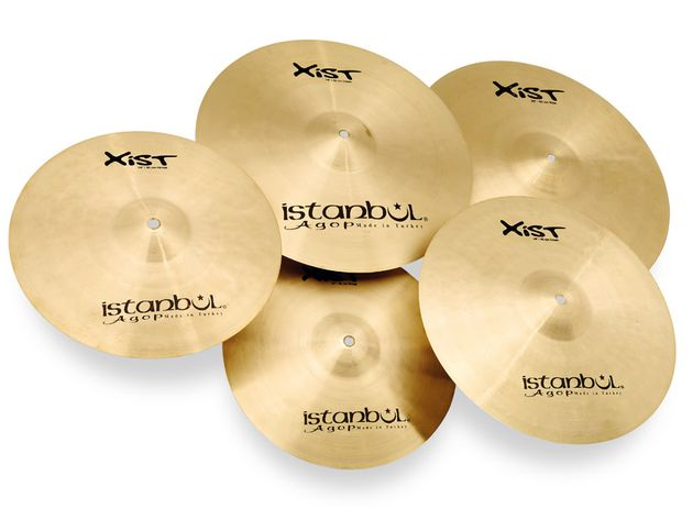 A healthy collection of hammer marks is visable across all of the cymbals.