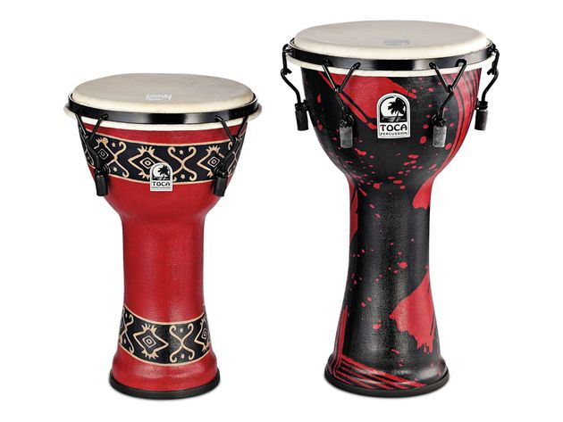 The djembes are made from a lightweight and durable synthetic material, moulded into shape.