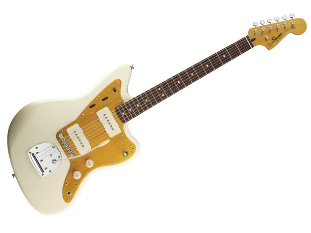 The offset Jazzmaster body looks awkward, but it hangs nicely on a strap and fits well on your lap.