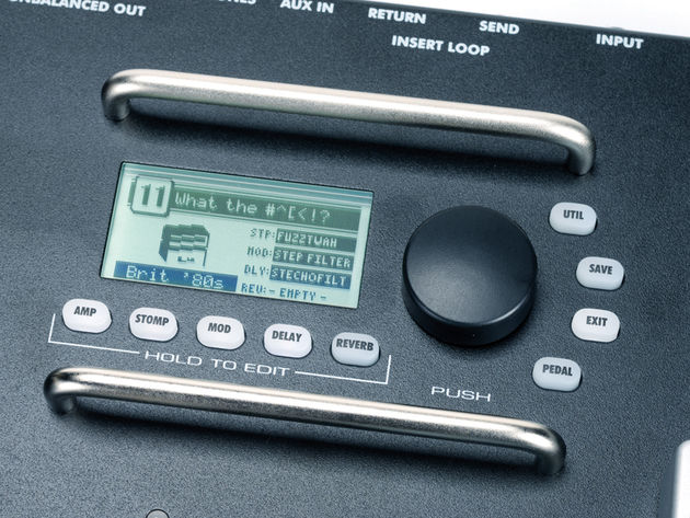 The Mustang Floor's single LCD screen displays all of the effects parameters.