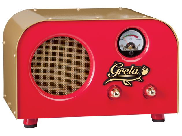 The Greta is controlled by simple volume and tone knobs. It's all about easy-to-dial practice tones that respond more to  your playing than your settings.
