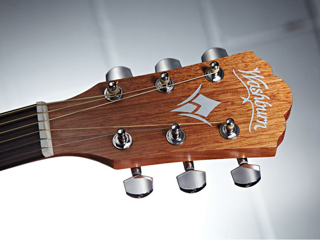 The 'naked look' of the Washburn's headstock is equally alluring.