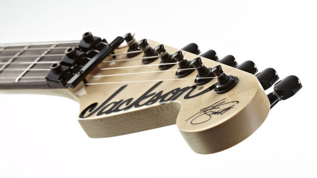 Adrian Smith's seal of approval is stamped on the end of the headstock