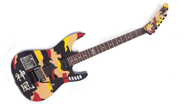 George Lynch's LTD signature model features a reverse-banana headstock and an eye-watering graphic paint job