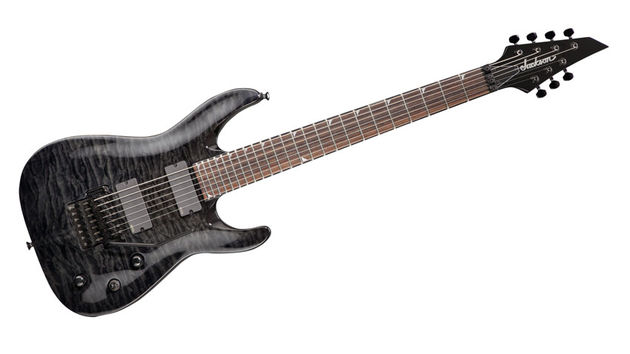 With minimalist fret markers, black-on-black binding, plus black hardware, it looks like an oversized Soloist in stealth mode
