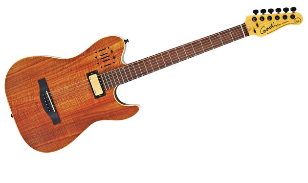 Construction-wise, this new Anniversary model is similar to the original Acousticaster: but, here, is faced with a fetching koa veneer