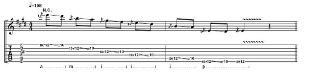 "Example 3: Use the picking technique outlined in Ex2 to play this but, as Landreth points out, ""Drag your fingers behind the glass to mute as well - that's a basic technique of slide. The combination of trailing fingers with fingerguarding really cleans it up."""